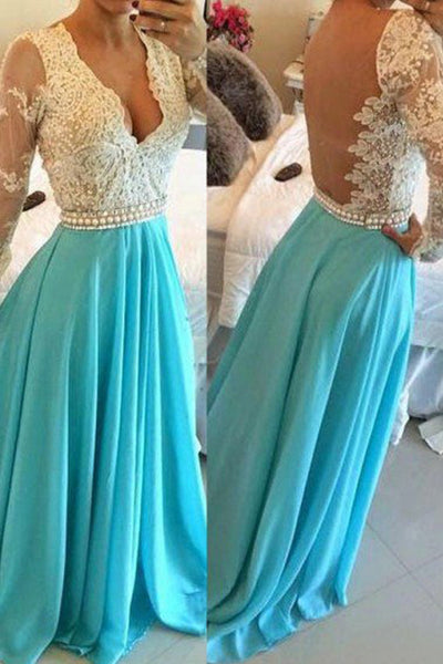 Long Sleeves V Neck Lace Blue Sexy Evening Prom Dress Party Dresses LD164