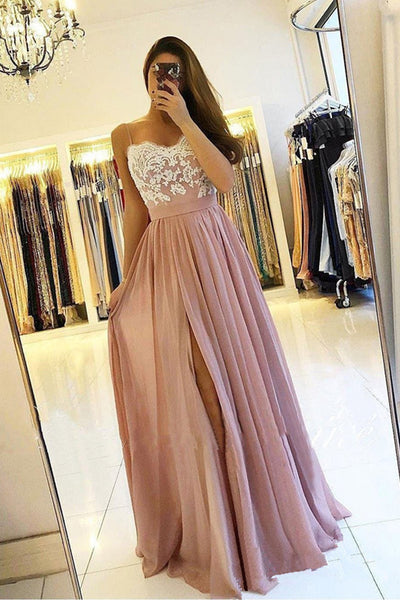 A Line Spaghetti Straps Chiffon Split Floor Length Prom Dresses Evening Formal Dress LD1650