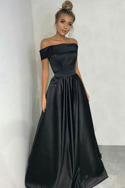 A line Off the Shoulder Black Satin Long Cheap Prom Dresses Formal Dress Gowns LD1651