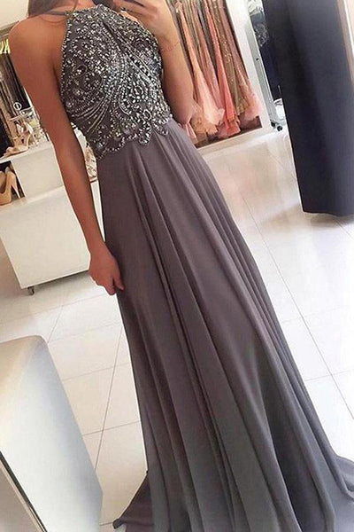 Fashion Spaghetti Straps Grey Chiffon Backless Beaded Prom Dresses Evening Formal Dress LD1656