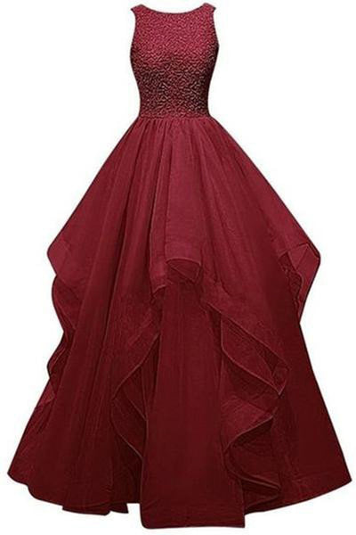Burgundy Backless Sleeveless Prom Dress Ball Gown Quinceanera Dresses LD165