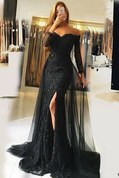 Sexy Black Lace Off the Shoulder Long Sleeves Mermaid Prom Dress Formal Dresses Gowns LD1661
