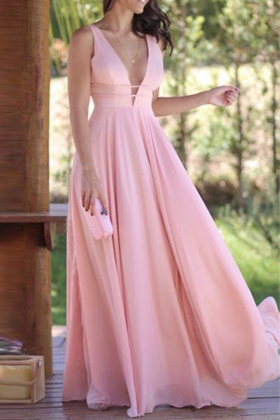 Top Selling Deep V Neck Pink Chiffon Cheap Prom Dresses Evening Formal Dress LD1663