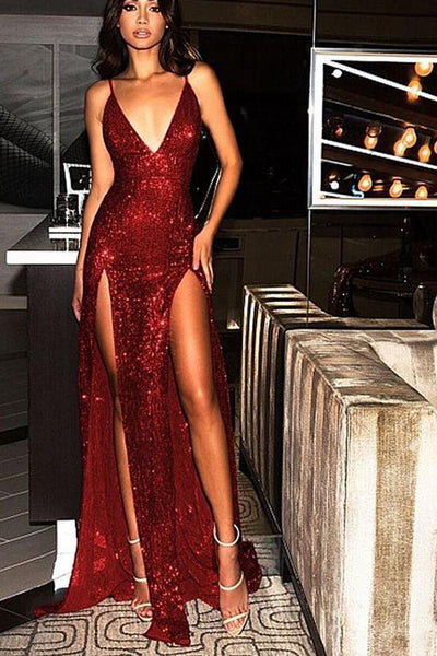 Elegant Burgundy Sequin Slit Sexy Spaghetti Straps Wedding Prom Dress Formal Dresses LD1665