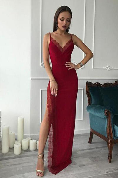 Burgundy Spaghetti Straps V Neck Slit Sheath Long Wedding Prom Dresses Formal Dress LD1666