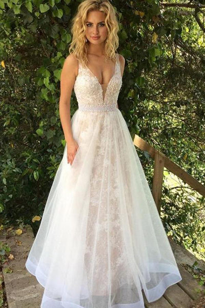Fashion Deep V Neck White Lace Long Wedding Dresses Formal Prom Dress Gowns LD1668