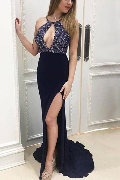 Sexy Navy Blue Spaghetti Straps Mermaid Slit Beaded Long Prom Dresses Formal Dress Gowns LD1669