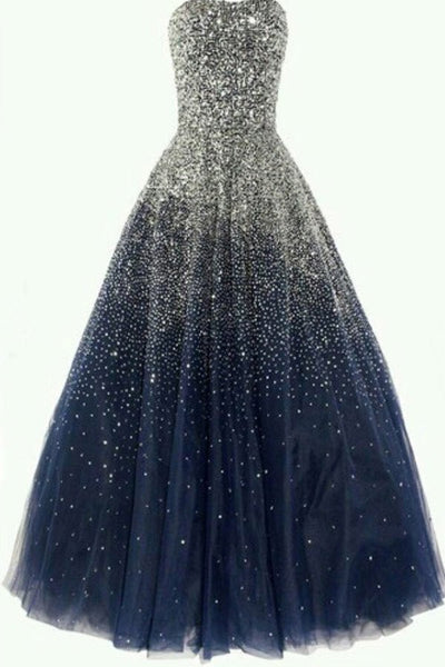 Strapless Navy Blue Tulle Heavy Beads Evening Prom Gowns Quinceanera Dress LD166