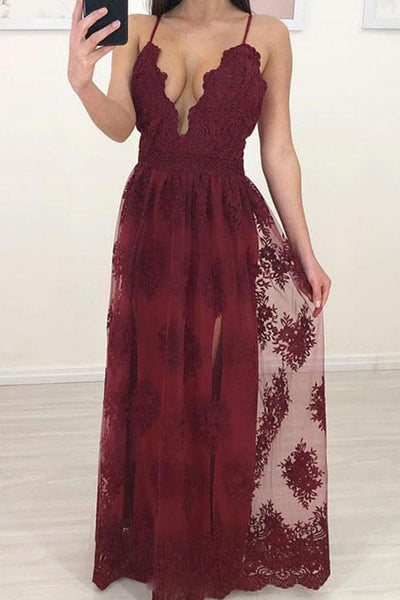 Burgundy Lace Deep V Neck Spaghetti Straps Wedding Prom Dress Formal Dresses LD1674