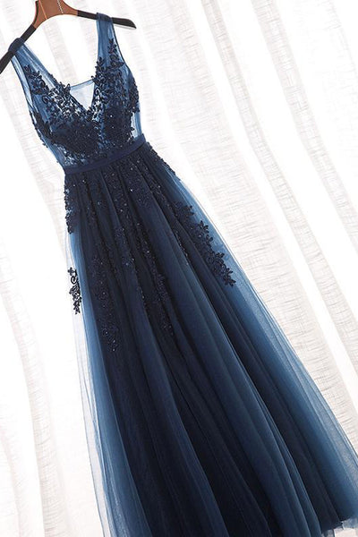 Navy Blue Lace Appliques V Neck See Through Backless Long Prom Dresses Formal Dress Gowns LD1677