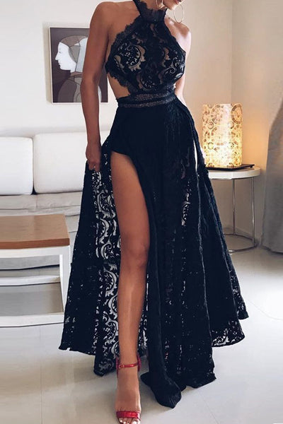 New 2019 A Line Black Lace Halter Backless Slit Long Wedding Prom Dresses Formal Dress LD1679