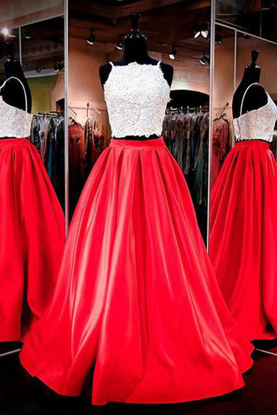 White Lace Red Skirt 2 Piece Spagehtti Straps Prom Dresses Evening Gowns LD167