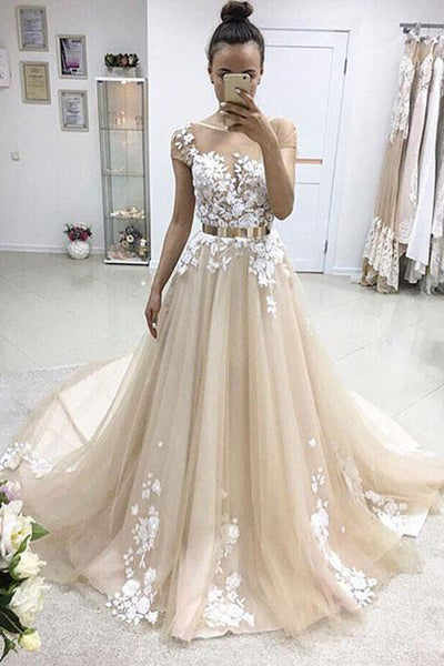 A Line Cap Sleeves White Lace Appliques Wedding Prom Dress Formal Dresses Gowns LD1680
