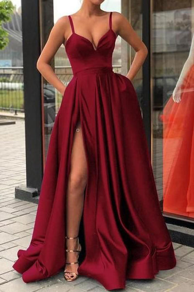 New 2019 Spaghetti Straps V Neck Slit Burgundy Satin Prom Dresses Formal Dress Gowns LD1682