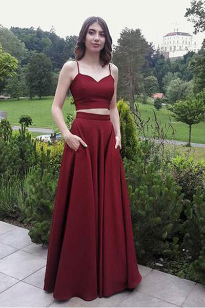 Two Piece Spaghetti Straps Burgundy Elegant Long Prom Dresses Formal Dress Gowns LD1684