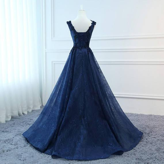 Fashion Navy Blue Lace V Neck Ball Gown Long Wedding Prom Dresses Evening Formal Dress LD1686