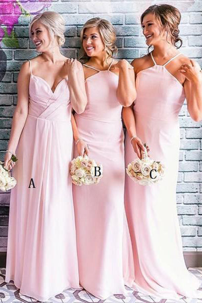 Elegant Spaghetti Straps Pink Long Cheap Wedding Bridesmaid Dresses Prom Dress LD1689