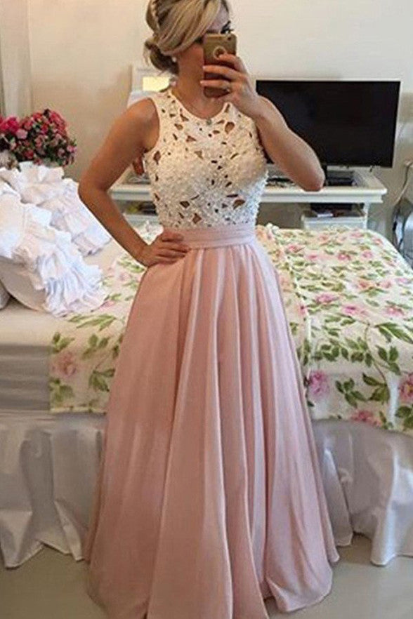 High Neck Ivory Lace Pink Sleeveless Prom Dresses Evening Party Dress LD168