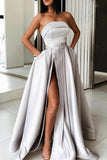 2019 New Design Grey Strapless Cheap Elegant Slit Prom Dress Formal Dresses With Pocket LD1692