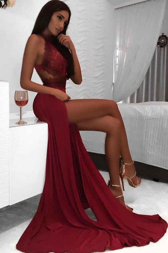Sexy Burgundy Backless Halter Lace Spandex Sheath Slit Evening Prom Dresses Formal Dress LD1693
