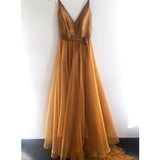 2019 New V Neck Spaghetti Straps Gold Tiered Hi-lo Skirt Evening Prom Dresses Formal Dress LD1694
