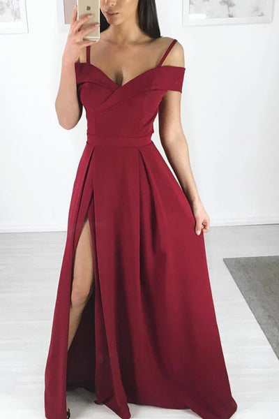 Fashion Slit Spaghetti Straps Burgundy Satin Long Wedding Prom Dress Formal Dresses LD1696