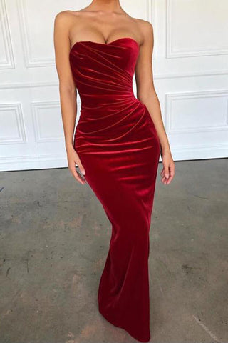 2019 Elegant Strapless Burgundy Velvet Long Mermaid Wedding Prom Dress Formal Dresses LD1697