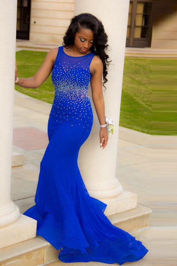 Royal Blue Prom Dress Beads Backless Mermaid Evening Dresses Party Gowns LD169