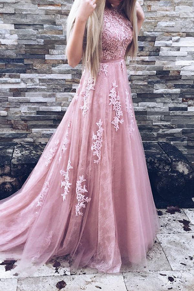 Fashion A Line Blush Pink High Neck Lace Sleeveless Prom Dresses Evening Formal Dress Gowns LD1700