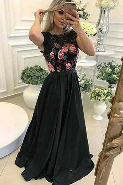 Chic Cap Sleeves Embroidery Black Long Wedding Prom Dress Formal Dresses Gowns LD1734