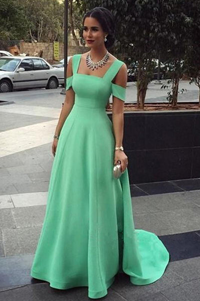 Simple Mint Satin A Line Princess Long Cheap Prom Dresses Evening Formal Dress Gowns LD1702