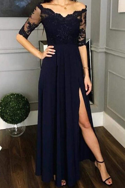 Navy Blue Lace Chiffon Half Sleeves Split Prom Dresses Evening Formal Mother of Bridal Dress LD1705