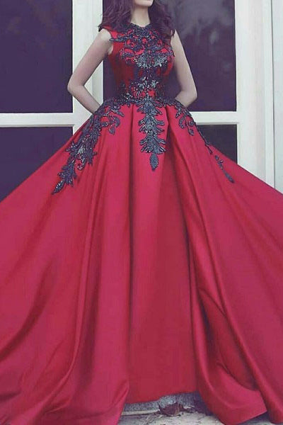 New Arrival High Neck Black Lace Burgundy Satin Bodice Prom Dresses Evening Formal Dress LD1706