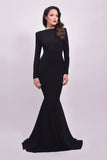 Elegant Long Sleeves Black Prom Dress Backless Mermaid Party Dresses LD170