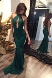 Sexy Halter Emerald Green Open Back Mermaid Long Fancy Prom Dresses Formal Evening Dress LD1712