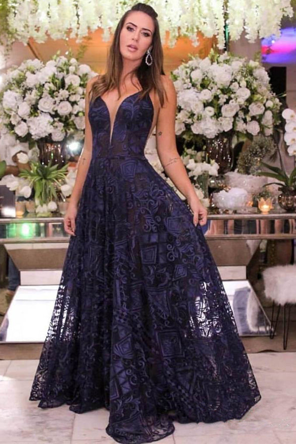 New Deep V Neck Spaghetti Straps Navy Blue Lace Long Formal Prom Dresses Evening Dress LD1714