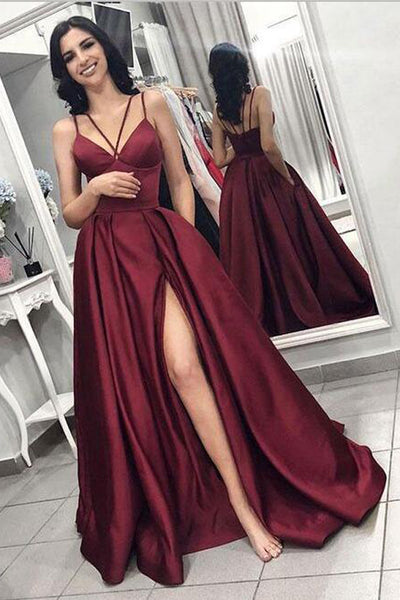 New 2020 Burgundy Spaghetti Straps Slit Long Formal Prom Dresses Evening Dress With Pocket LD1715