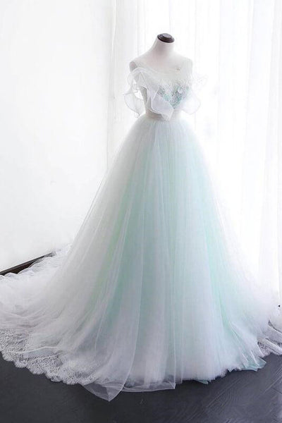 Ball Gown Sweet 16 White Lace Appliques Empire Waist Wedding Prom Dresses Formal Dress LD1716