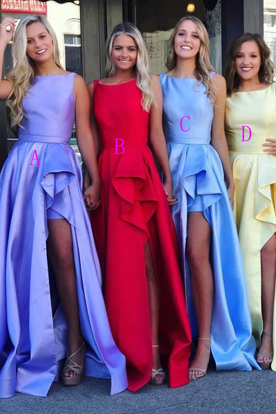 Fashion A Line Slit Hi-Lo Skirt Satin Long Fancy Prom Dresses Formal Evening Grad Dress LD1717