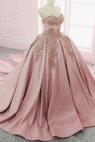 Ball Gown Satin Strapless Blush Pink Lace Formal Prom Dresses Evening Quinceanera Dress LD1718