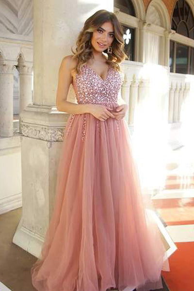 Chic A Line V Neck Blush Pink See Through Beaded Long Formal Prom Dresses  Evening Dress eb6609218613
