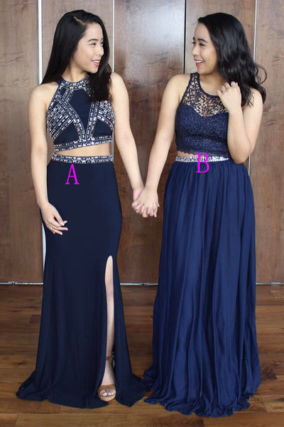 Two Piece Navy Blue Lace Beaded Long Fancy Prom Dresses Formal Evening Grad Dress LD1723