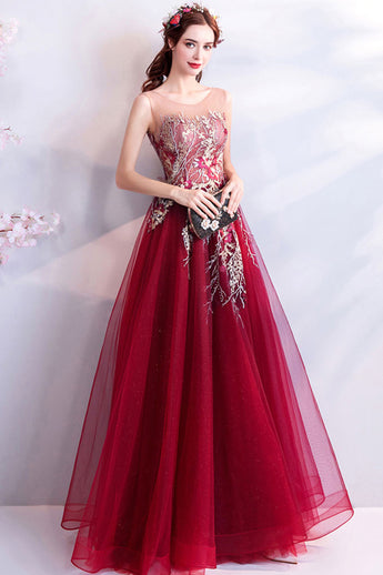 Fashion Embroidery Lace Burgundy Long Wedding Formal Prom Dresses Evening Dress LD1726