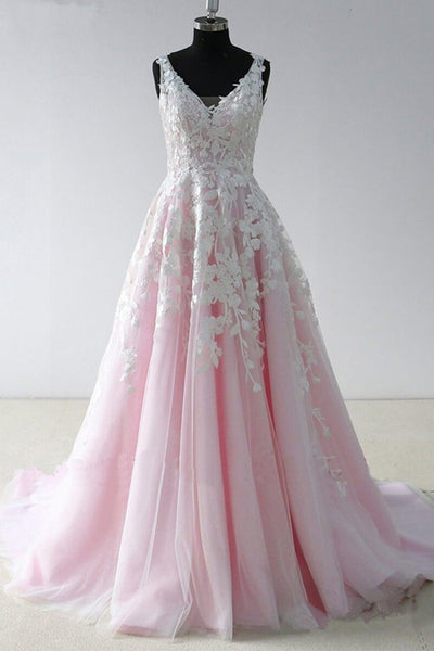 A Line Princess Lace V Neck Open Back Pink Wedding Prom Dresses Formal Dress LD1728