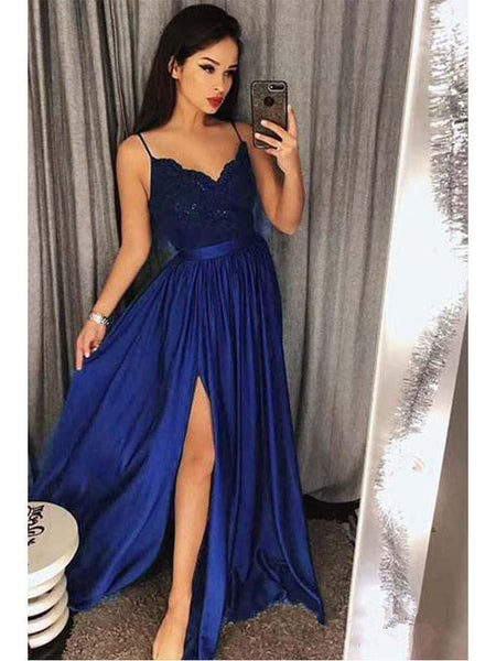 A Line Royal Blue Spaghetti Straps Long Fancy Prom Dress Formal Grad Dresses LD1735