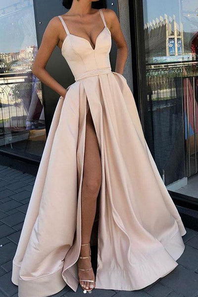 Spaghetti Straps Elegant Slit Fancy Prom Dresses Formal Evening Grad Dress With Pocket LD1737