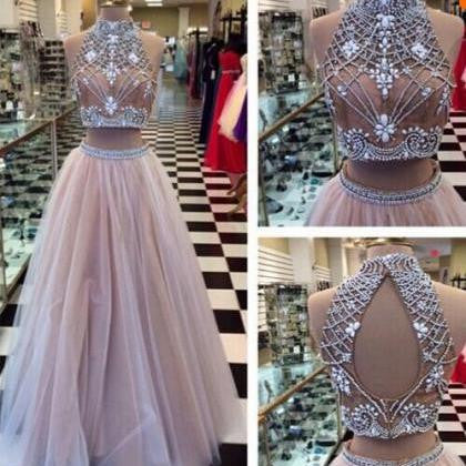 Two Piece High Neck Beadings Long Prom Dress Evening Party Gowns LD173