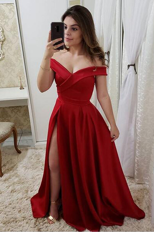 Off the Shoulder A Line Red Satin Long Slit Cheap Fancy Prom Dresses Formal Grad Dress LD1745