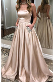 A Line Strapless Cheap Elegant Fancy Prom Dresses Formal Evening Dress With Pocket LD1749