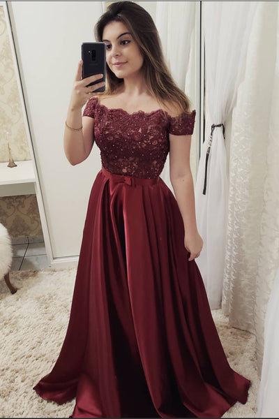 Off the Shoulder Burgundy Short Sleeves Lace Fancy Prom Dresses Formal Evening Dress LD1757